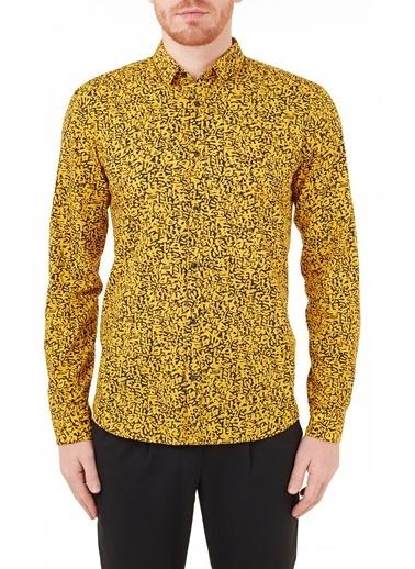 Hugo Boss  Extra Slim Fit Baskılı % 100 Pamuk Gömlek Erkek Gömlek 50449731 826 Sarı